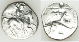 CALABRIA. Tarentum. Ca. 281-240 BC. AR didrachm or stater (21mm, 7.79 gm, 3h). About VF, cleaning marks, porosity. Dai- and Fi-, magistrates. Helmeted...