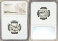 LUCANIA. Velia. Ca. 400-340 BC. AR didrachm or stater (22mm, 5h). NGC Fine. Head of Athena left, wearing crested Attic helmet decorated with griffin; ...