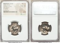 BRUTTIUM. Locris Epizephyroi. Ca. 350-275 BC. AR stater (24mm, 8.60 gm, 2h). NGC XF 5/5 - 3/5. Pegasus with pointed wing flying left; thunderbolt belo...