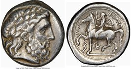 MACEDONIAN KINGDOM. Philip II (359-336 BC). AR tetradrachm (24mm, 14.25 gm, 5h). NGC VF 5/5 - 3/5, brushed. Lifetime issue of Amphipolis, ca. 355-349/...