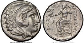 MACEDONIAN KINGDOM. Alexander III the Great (336-323 BC). AR tetradrachm (24mm, 16.96 gm, 5h). NGC Choice AU 4/5 - 3/5. Early posthumous issue of 'Amp...