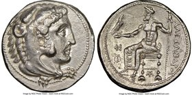 MACEDONIAN KINGDOM. Alexander III the Great (336-323 BC). AR tetradrachm (26mm, 16.95 gm, 3h). NGC Choice AU 4/5 - 3/5, flan flaw. Lifetime issue of M...