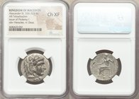 MACEDONIAN KINGDOM. Alexander III the Great (336-323 BC). AR tetradrachm (25mm, 12h). NGC Choice XF. Late lifetime-early posthumous issue of Aradus, c...