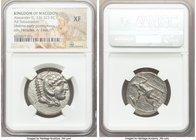 MACEDONIAN KINGDOM. Alexander III the Great (336-323 BC). AR tetradrachm (27mm, 10h). NGC XF. Late lifetime-early posthumous issue of Aradus, ca. 328-...