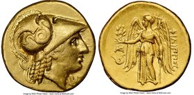 MACEDONIAN KINGDOM. Philip III Arrhidaeus (323-317 BC). AV stater (19mm, 8.56 gm, 12h). NGC AU 5/5 - 4/5. Abydus, 323-317 BC. Head of Athena right, ha...
