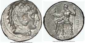 MACEDONIAN KINGDOM. Philip III Arrhidaeus (323-317 BC). AR tetradrachm (26mm, 2h). NGC Choice VF. Babylon. Head of Heracles right, wearing lion skin h...