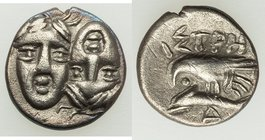MOESIA. Istrus. Ca. 4th century BC. AR quarter-drachm (11mm, 1.13 gm, 1h). XF. Imitative issue of two facing male heads side-by-side, the right invert...