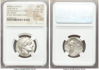 ATTICA. Athens. Ca. 440-404 BC. AR tetradrachm (25mm, 17.21 gm, 10h). NGC MS 4/5 - 5/5, die shift. Mid-mass coinage issue. Head of Athena right, weari...