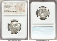ATTICA. Athens. Ca. 440-404 BC. AR tetradrachm (25mm, 17.17 gm, 6h). NGC MS 3/5 - 4/5. Mid-mass coinage issue. Head of Athena right, wearing crested A...
