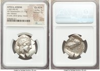 ATTICA. Athens. Ca. 440-404 BC. AR tetradrachm (28mm, 17.17 gm, 1h). NGC AU S 5/5 - 5/5. Mid-mass coinage issue. Head of Athena right, wearing crested...