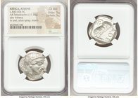 ATTICA. Athens. Ca. 440-404 BC. AR tetradrachm (25mm, 17.18 gm, 8h). NGC Choice AU 5/5 - 5/5. Mid-mass coinage issue. Head of Athena right, wearing cr...