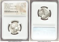 ATTICA. Athens. Ca. 440-404 BC. AR tetradrachm (25mm, 17.15 gm, 4h). NGC Choice AU 5/5 - 5/5. Mid-mass coinage issue. Head of Athena right, wearing cr...