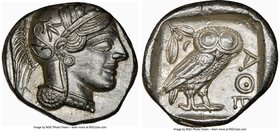 ATTICA. Athens. Ca. 440-404 BC. AR tetradrachm (26mm, 17.20 gm, 1h). NGC Choice AU 5/5 - 4/5. Mid-mass coinage issue. Head of Athena right, wearing cr...