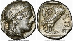 ATTICA. Athens. Ca. 440-404 BC. AR tetradrachm (25mm, 17.21 gm, 12h). NGC Choice AU 5/5 - 4/5. Mid-mass coinage issue. Head of Athena right, wearing c...