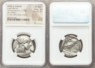 ATTICA. Athens. Ca. 440-404 BC. AR tetradrachm (27mm, 17.18 gm, 1h). NGC Choice AU 4/5 - 4/5. Mid-mass coinage issue. Head of Athena right, wearing cr...