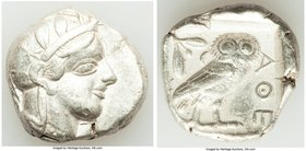 ATTICA. Athens. Ca. 440-404 BC. AR tetradrachm (25mm, 17.18 gm, 7h). VF. Mid-mass coinage issue. Head of Athena right, wearing crested Attic helmet or...