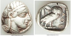 ATTICA. Athens. Ca. 440-404 BC. AR tetradrachm (25mm, 17.15 gm, 3h). VF. Mid-mass coinage issue. Head of Athena right, wearing crested Attic helmet or...