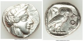 ATTICA. Athens. Ca. 440-404 BC. AR tetradrachm (24mm, 17.14 gm, 8h). VF. Mid-mass coinage issue. Head of Athena right, wearing crested Attic helmet or...