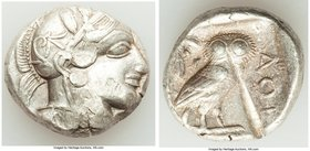 ATTICA. Athens. Ca. 440-404 BC. AR tetradrachm (25mm, 17.18 gm, 1h). VF, test cut. Mid-mass coinage issue. Head of Athena right, wearing crested Attic...