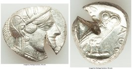ATTICA. Athens. Ca. 440-404 BC. AR tetradrachm (25mm, 17.13 gm, 8h). AU, test cut. Mid-mass coinage issue. Head of Athena right, wearing crested Attic...