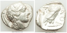 ATTICA. Athens. Ca. 440-404 BC. AR tetradrachm (25mm, 17.16 gm, 1h). VF, test cuts. Mid-mass coinage issue. Head of Athena right, wearing crested Atti...
