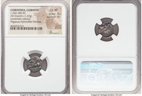 CORINTHIA. Corinth (Uncertain Colony). Ca. 350-280 BC. AR drachm (15mm, 1.67 gm, 8h). NGC Choice XF 4/5 - 4/5. Pegasus flying left; Ϙ below / Head of ...