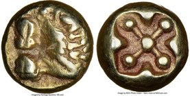 IONIA. Miletus. Ca. 600-550 BC. EL 1/12 stater or hemihecte (7mm, 1.14 gm). NGC Choice VF 4/5 - 5/5. Milesian standard. Forepart of lion left with ext...