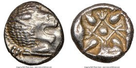 IONIA. Miletus. Ca. late 6th-5th centuries BC. AR obol (9mm). NGC AU. Milesian standard. Forepart of roaring lion left, head reverted / Stellate flora...