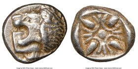 IONIA. Miletus. Ca. late 6th-5th centuries BC. AR obol (9mm). NGC XF. Milesian standard. Forepart of roaring lion right, head reverted / Stellate flor...