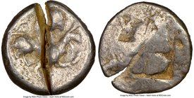 IONIA. Teos. Ca. 520-475 BC. AR stater (20mm). NGC VG, test cut. Griffin seated right on ground line, left foreleg raised / Quadripartite incuse squar...