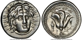 CARIAN ISLANDS. Rhodes. Ca. 250-200 BC. AR didrachm (20mm, 12h). NGC Choice XF. Timotheus, magistrate. Radiate head of Helios facing, turned slightly ...