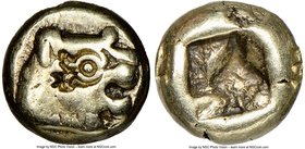 LYDIAN KINGDOM. Alyattes or Croesus (ca. 610-546 BC). EL 1/12 stater or hemihecte (7mm). NGC Choice Fine, countermarks. Sardes mint. Head of roaring l...
