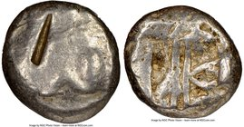 LYCIA. Phaselis. Ca. 530-500 BC. AR stater (19mm). NGC Good, test cut. Prow of galley left, in the form of a boar's head and foreleg, three shields ab...