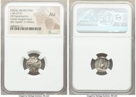 LYCIAN LEAGUE. Masicytes. Ca. 48-20 BC. AR hemidrachm (14mm, 1h). NGC AU. Series 1. Laureate head of Apollo right; Λ-Y below / M-A, cithara (lyre); st...
