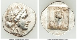 LYCIAN LEAGUE. Masicytes. Ca. 48-20 BC. AR hemidrachm (15mm, 1.89 gm, 12h). About XF. Series 1. Laureate head of Apollo right; Λ-Y below / M-A, cithar...