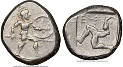 PAMPHYLIA. Aspendus. Ca. mid-5th century BC. AR stater (21mm, 10h). NGC Choice VF. Helmeted nude hoplite advancing right, shield in left hand, spear f...