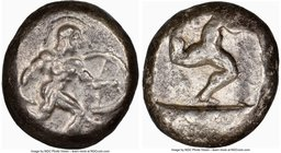 PAMPHYLIA. Aspendus. Ca. mid-5th century BC. AR stater (18mm, 11h). NGC VF. Helmeted nude hoplite advancing right, shield in left hand, spear forward ...
