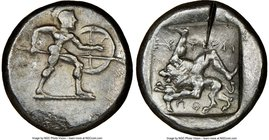 PAMPHYLIA. Aspendus. Ca. mid-5th century BC. AR stater (22mm, 5h). NGC VF, test cut. Helmeted nude hoplite warrior advancing right, shield in left han...