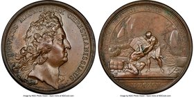 """East India Company - Andre De Nesmond"" bronze Medal 1695-Dated MS62 Brown NGC, Lec-14. 41.2mm.  HID09801242017"
