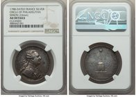 "Louis XVI silver ""Circle of Philadelphia"" Jeton or Medal 1788-Dated AU Details (Cleaned) NGC, 33mm. By Simon.  HID09801242017"