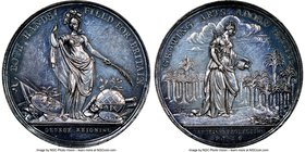"""Jernegan's Lottery"" silver Medal 1736 MS63 NGC, Betts-169, MI-517-72. 39mm. By J. S. Tanner. Gunmetal hues throughout.  HID09801242017"