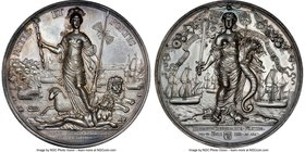 """Peace of Breda"" silver Medal 1667 MS64 NGC, Van Loon-II-534.1, MI-528/176. 69mm. Peace of Breda between France, England, Denmark, and the Netherlands..."