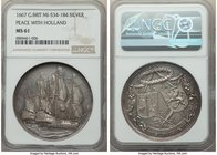 """The Peace of Breda and the Alliance of England and Holland"" silver Medal 1667 MS61 NGC, MI-534/184. 44mm. By Christopher Adolfszoon.  HID09801242017"