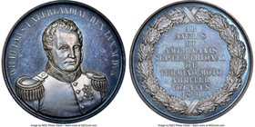 "Willem I silver ""US-Canada Border"" Medal 1829-Dated MS64 NGC, 42.5mm. Deep slate gray toning.  HID09801242017"