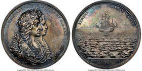 "James II silver ""Salvage of the Concepción By William Phips"" 1687 Medal MS64 NGC, Betts-67, MI-619/33, Eimer-285. 54mm. Very rare medal.  HID098012420..."