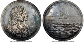 "James II silver ""Salvage of the Concepción By William Phips"" Medal 1687 MS63 NGC, Betts-67, MI-619/33, Eimer-285. 54mm. Very rare medal.  HID098012420..."