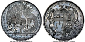 """Kittanning Destroyed"" silver Medal 1756-Dated MS62 NGC, Betts-400. 44mm. Hole for a suspension loop.  HID09801242017"