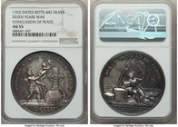 """Seven Years War Conclusion of Peace"" silver Medal 1762-Dated AU55 NGC, Betts-442. 44mm.  HID09801242017"