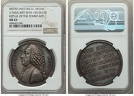 """William Pitt - Repeal of the Stamp Act"" silver Medal ND (1766) MS63 NGC, Betts-516, BHM-100. 40mm.  HID09801242017"