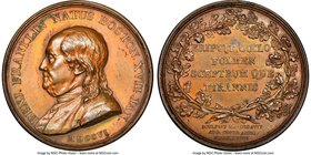 """Benjamin Franklin - Natus Boston"" bronze Medal 1786-Dated AU58 Brown NGC, Betts-620, SCH-GM-33. 46mm.   HID09801242017"